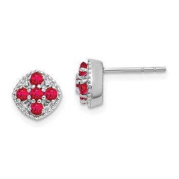 Sterling Silver Rhodium-plated Glass Filled Ruby Flower Post Earrings