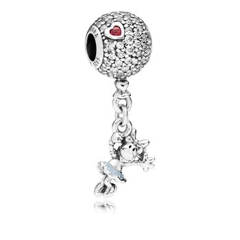Disney, Floating Minnie Dangle Charm, Red Clear Cz Light Blue Enamel