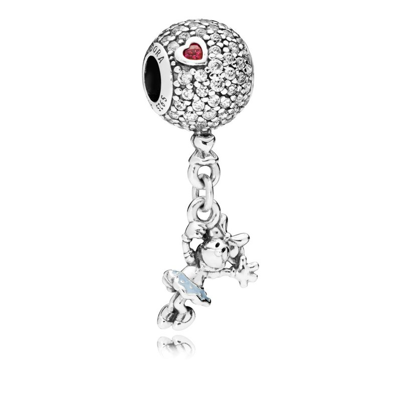 PANDORA Disney, Floating Minnie Dangle Charm, Red Clear Cz Light Blue Enamel