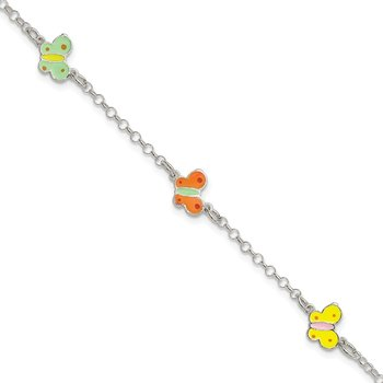Sterling Silver Polished Children's Enameled Butterfly Bracelet