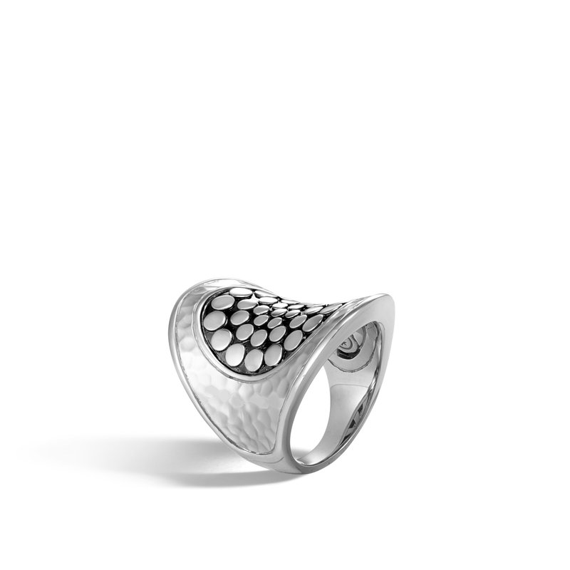 John Hardy Dot Saddle Ring in Hammered Silver