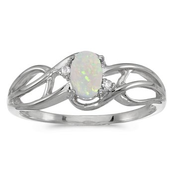 14k White Gold Oval Opal And Diamond Curve Ring