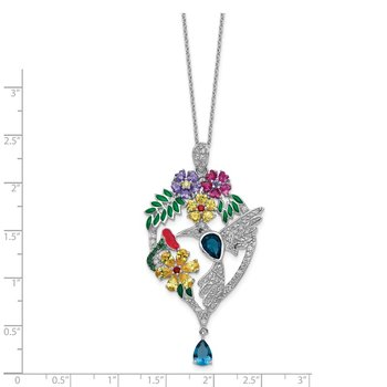 Cheryl M SS Enamel CZ Lab cr Dk Blue Spinel & Glass Sim.Stones Necklace