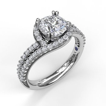 Swirl Halo With Split Band Engagement Ring