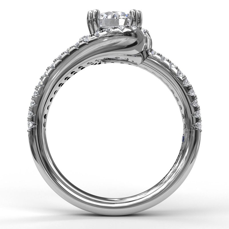 Fana Swirl Halo With Split Band Engagement Ring