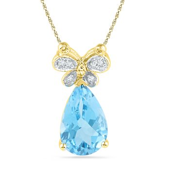 10kt Yellow Gold Womens Pear Lab-Created Blue Topaz Butterfly Bug Diamond Pendant 2-1/2 Cttw