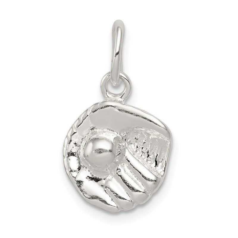 Quality Gold Sterling Silver Baseball Glove Charm