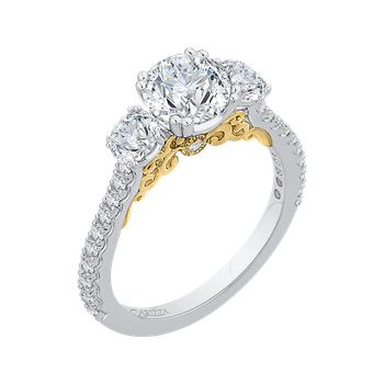 14K Two-Tone Gold Round Diamond Three-Stone Engagement Ring (Semi-Mount)