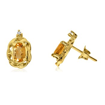 14k Yellow Gold Citrine Scroll Diamond Earrings