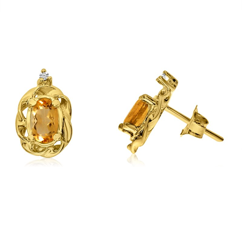 Color Merchants 14k Yellow Gold Citrine Scroll Diamond Earrings