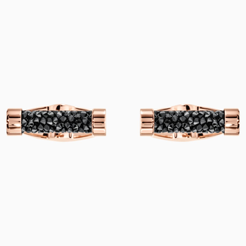 Crystaldust Cufflinks, Black, Rose-gold tone plated