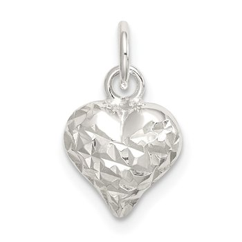 Sterling Silver Polished Diamond-cut Puff Heart Charm