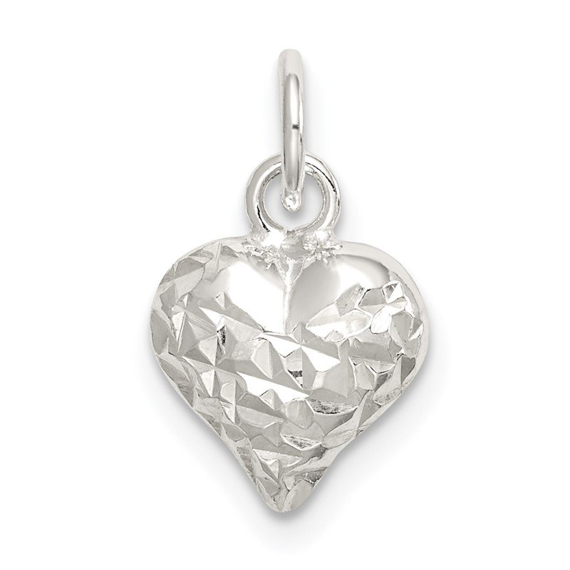 Quality Gold Sterling Silver Polished Diamond-cut Puff Heart Charm