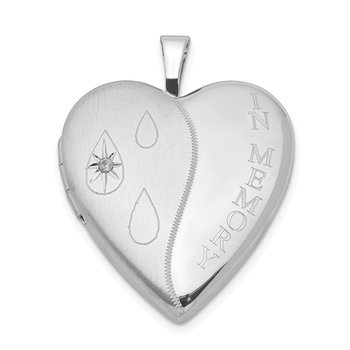 Sterling Silver Rhod-plated Diamond Satin/Polished In Memory Heart Locket