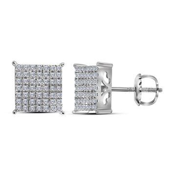 10kt White Gold Womens Round Diamond Square Cluster Stud Earrings 3/4 Cttw