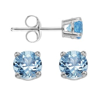 Four Prong Blue Topaz Studs in 14K White Gold (5 MM)