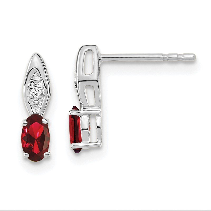 Quality Gold 14k White Gold Garnet and Diamond Post Earrings