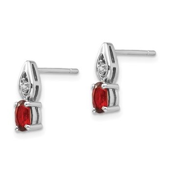 14k White Gold Garnet and Diamond Post Earrings