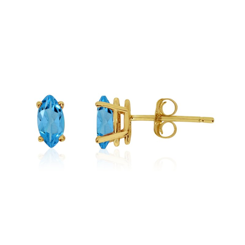 Color Merchants 14k Yellow Gold Blue Topaz Marquise Earrings