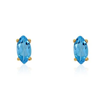 14k Yellow Gold Blue Topaz Marquise Earrings