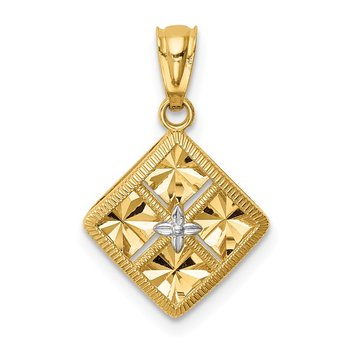 14K w/White Rhodium Diamond-Cut Square Charm