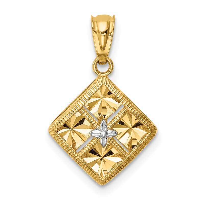 Quality Gold 14K w/White Rhodium Diamond-Cut Square Charm