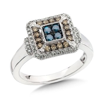 Pave set Blue, Cognac and White Diamond Ring, 10k White Gold  (1/2 ct. tw.)