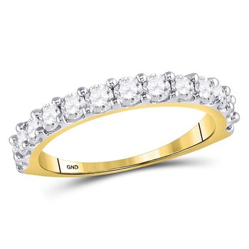 14kt Yellow Gold Womens Round Diamond Single Row Band Ring 1.00 Cttw