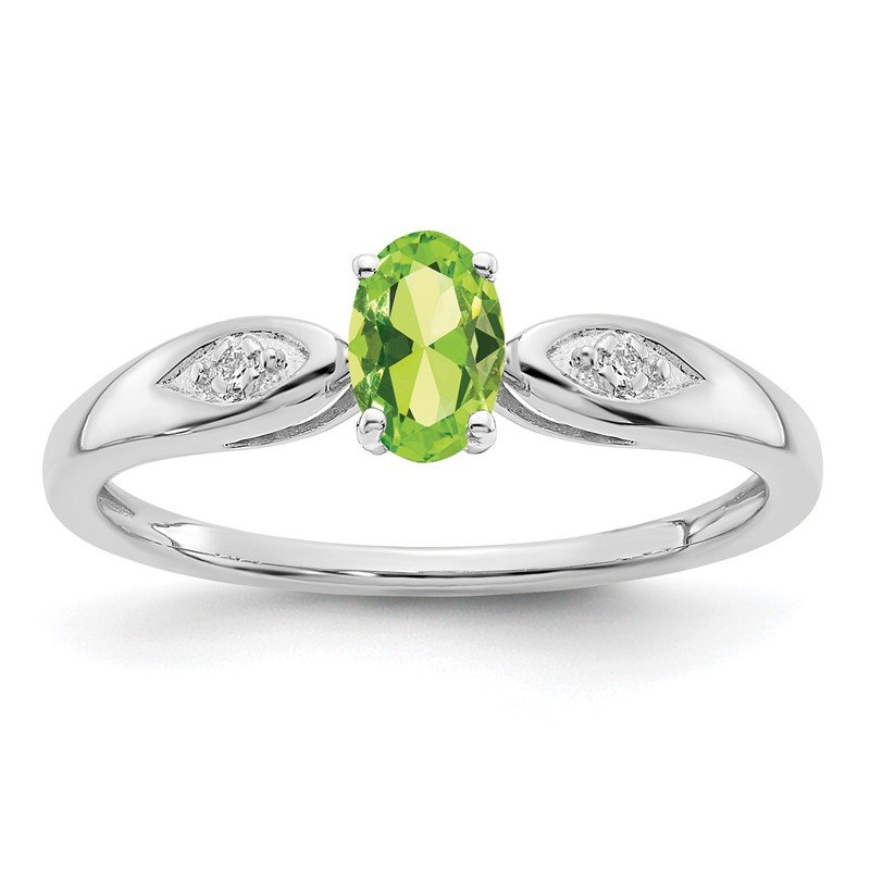 Quality Gold 14k White Gold Peridot and Diamond Ring