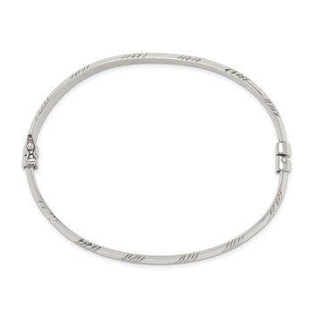 Sterling Silver D/C 6mm Bangle and 4mm Hoop Earring Set