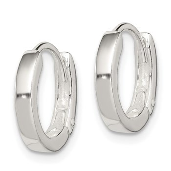 Sterling Silver Round Hinged Hoop Earrings