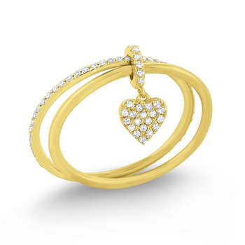 Diamond Lucky Charm Heart Ring Set in 14 Kt. Gold