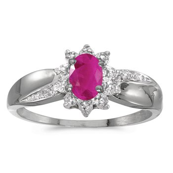 10k White Gold Oval Ruby And Diamond Ring
