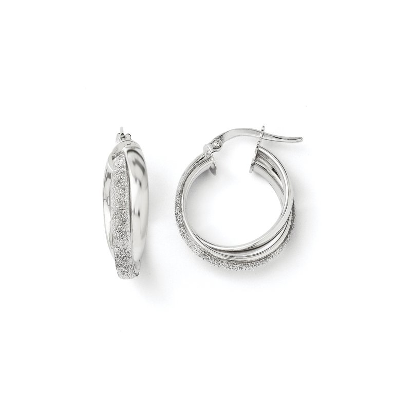 Leslie's Leslie's 14K White Gold Fancy Glimmer Infused Hoop Earrings