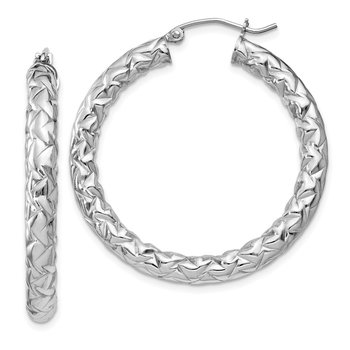 Sterling Silver Rhodium-plated Textured 4x35mm Hoop Earrings
