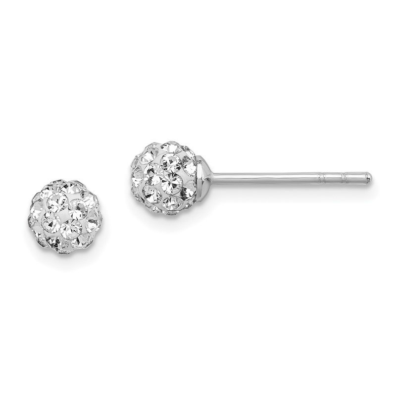 Quality Gold Sterling Silver Rhodium Plated Stellux Crystal Ball Post Earrings