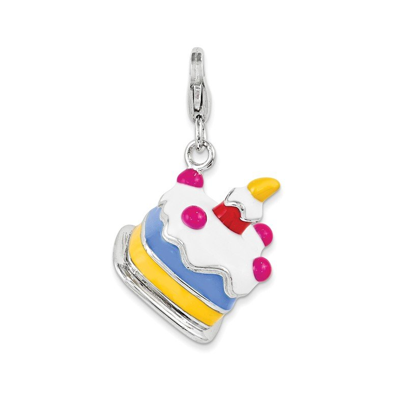 Quality Gold Sterling Silver 3-D Enameled Cake w/Lobster Clasp Charm