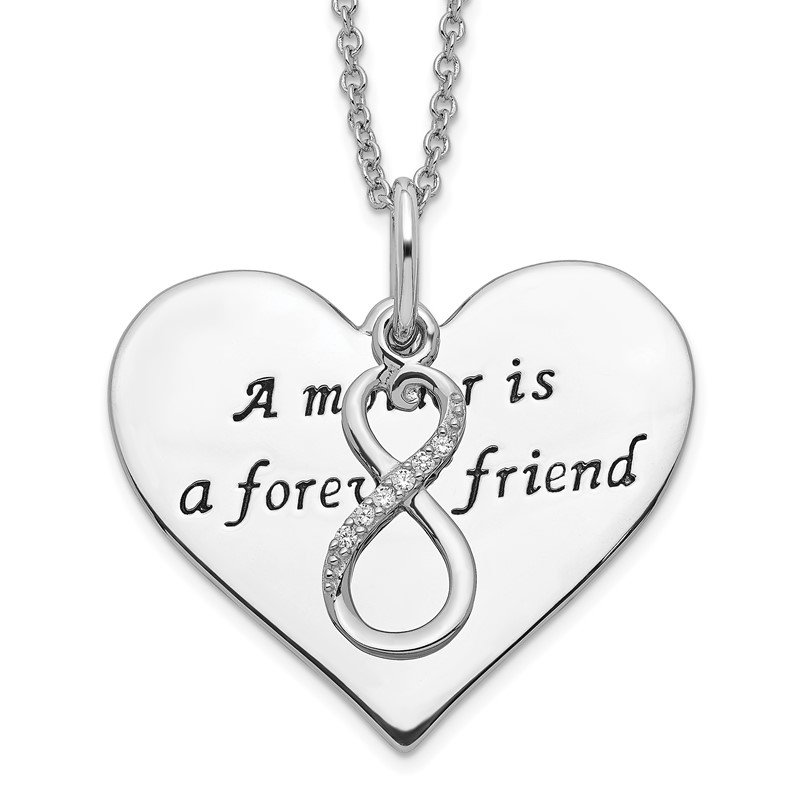 Quality Gold Sterling Silver Antiqued CZ A Mother Is A Forever Friend 18in Necklace