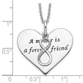 Sterling Silver Antiqued CZ A Mother Is A Forever Friend 18in Necklace
