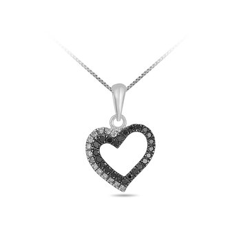 10K Black & White Diamond Heart Pendant