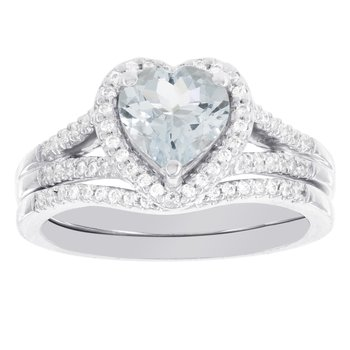 14k White Gold Heart-shaped Aquamarine 1/4ct Diamond Bridal Set
