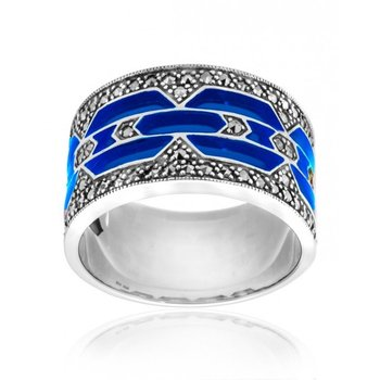 Wide Blue Enamel Ring