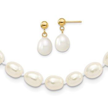 14k 7-8mm Semi-round FW Cultured Pearl 18 in. Necklace & Post Earring Set