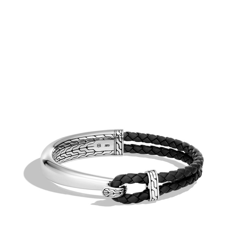 JOHN HARDY Classic Chain Half Cuff Bracelet in Silver and Leather