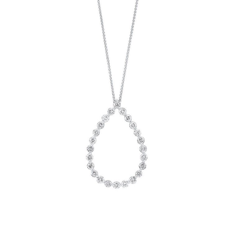Gems One Diamond Eternity Teardrop Pendant Necklace in 14k White Gold (1 ctw)