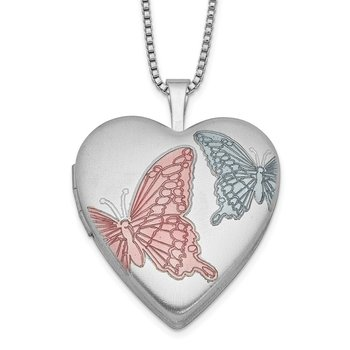 Sterling Silver RH-plated 20mm Enamel Butterflies Heart Locket Necklace