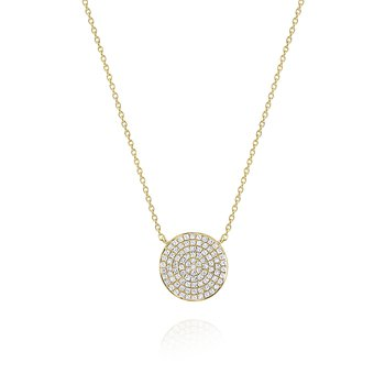 Round Diamond Pavé Disc Pendant Necklace Set in 14 Kt. Gold