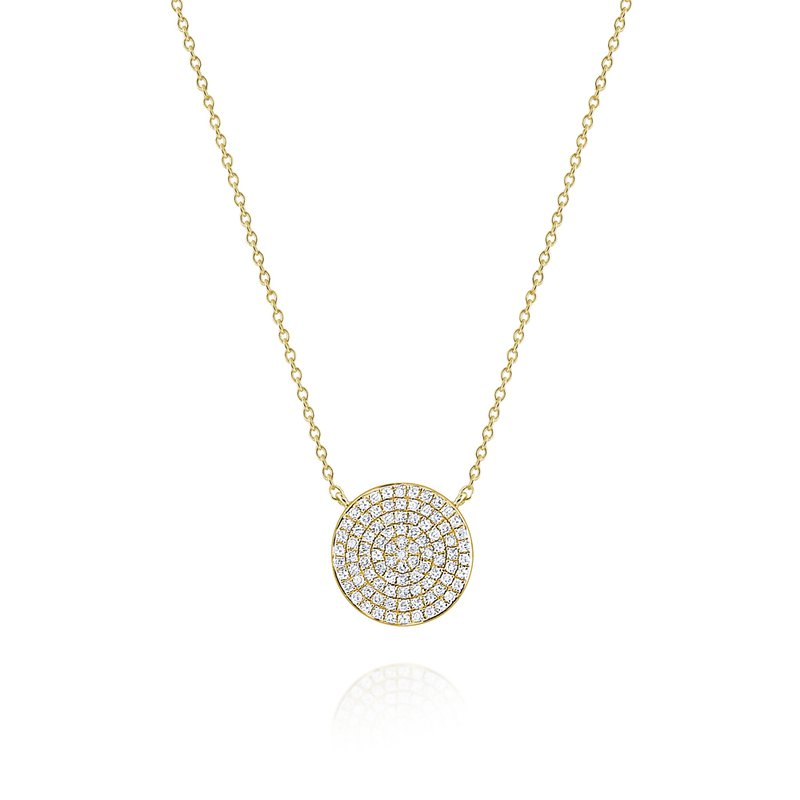 KC Designs Round Diamond Pavé Disc Pendant Necklace Set in 14 Kt. Gold