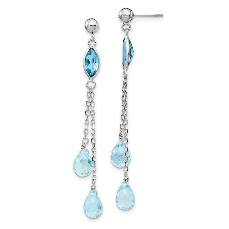 Quality Gold 14k White Gold Blue Topaz Dangle Earrings