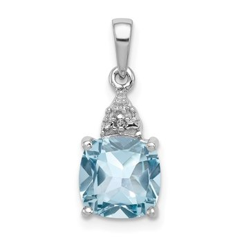 Sterling Silver Rhodium Lt Swiss Blue Topaz & Diamond Pendant